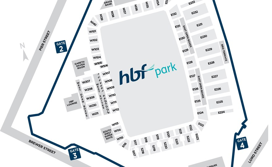 Map of function rooms at HBF Park